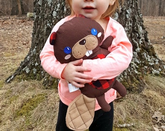 Beaver toy-beaver-buffalo plaid fabric-baby gift-large stuffed animal-baby shower gift-compliant-dolls and daydreams cloth doll-soft plushie