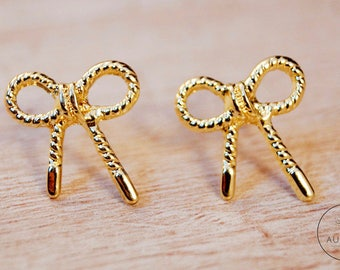"""18 K gold plated gift earrings """"bows"""""""