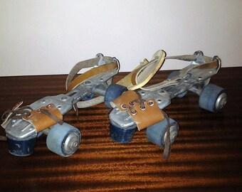 Vintage 1960s SEIKO Strap-On Adjustable Children's Size Roller Skates with Blue Wheels / Retro Skating / Trade Mark SEIKO