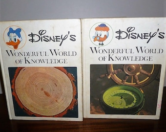 Vintage 1973 Two Books: Disney's Wonderful World of Knowledge - Walt Disney Productions / Children's Retro Encyclopedia