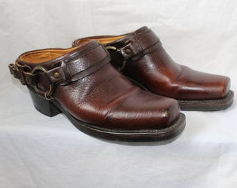 Frye Harness Moto Clogs Mules Leather Brown Size 7