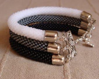 bracelet with bead black white gray,Beaded crochet rope Bracelet hand made in Italy,elegant style