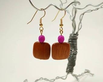 Matte Fushcia Glass and Bayong Wood Earring