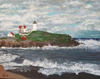 Lighthouse Wells Maine print of original acrylic painting.