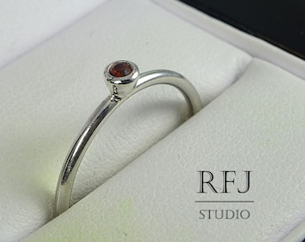 Natural Garnet Sterling Silver Ring, January Birthstone Classic Ring, 2 mm Round Cut Red Genuine Garnet Ring, Solid 925 Silver Garnet Ring