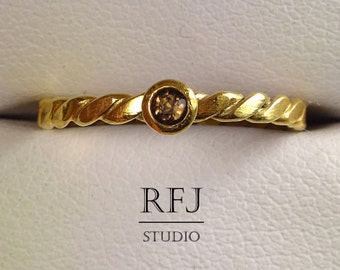 24K Gold Natural Smoky Quartz Flat Rope Ring, Yellow Gold Plated 2 mm Round Cut Smokey Quartz Flat Twisted Ring, Smokey Quartz Golden Ring