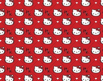 "Hello Kitty Fabric, Cat Fabric: Sanrio Hello kitty heads allover - Plaid Diamond on RED 100% cotton Fabric by the yard 36""x43"" (SC3)"