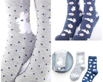 Cute Women's/Girl's Rabbit Animal Pattern Cotton Socks 2 Pairs