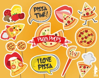 Printable Pizza Party Photo Booth Props, Pizza party props, Baking Photobooth Party Props, Pizza party props,Printable Fast Food Party Props