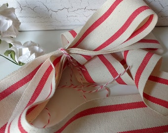red and cream ticking stripe cotton ribbon