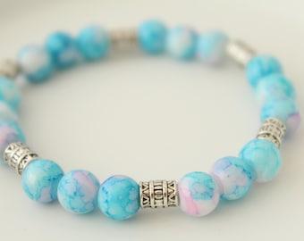 Bohemian Bracelet - Glass Bracelet - Blue Bracelet - Boho Jewelry - Gift for Daughter - Something Blue - Glass Jewelry - Gift for Her