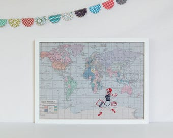 Embroidered retro woman, map of the world notice board, fabric pin board, magnetic notice board, perfect travel gift or birthday present