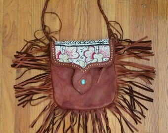 Vintage leather Fringe turquoise bag