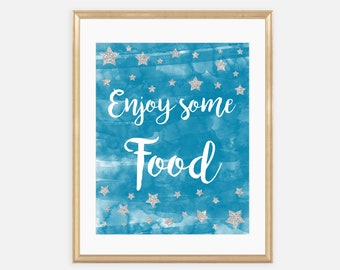 Food Sign, Food bar, Enjoy some food, Stars Baby Shower, Supplies, Decoration, Printables, Blue and Gray, Twinkle Little Star, Boy, 007