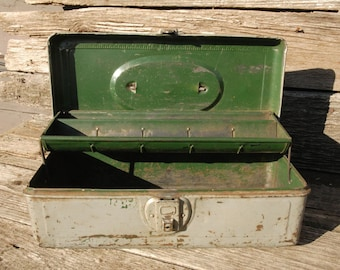 Vintage Metal Tool Box/Antique Tool Box With Attached Hinged Shelf