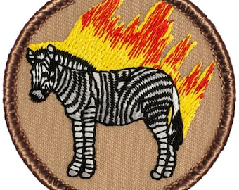 Flaming Zebra Patch (186A) 2 Inch Diameter Embroidered Patch