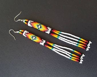 Seed bead earrings, huichol earrings, beaded earrings, native American earrings, duster earrings
