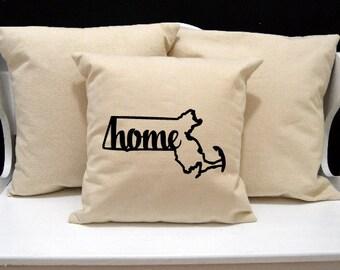 Massachusetts Home Pillow, Massachusetts Pillow, home pillow, pillow gift, Massachusetts gift, Envelope Pillow, state pillow, MA pillow
