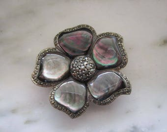 Vintage Sterling Silver Abalone & Marcasite Flower Pin or Brooch