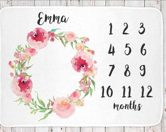 Monthly milestone baby blanket personalized, girls shabby floral print (BB108)