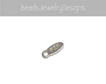 Sterling Silver 925 Tags, 10mm Long Tags with 3mm Hole on Top, 4mm Width Tags, Sterling Finding Tags, Oval 925 Tags Sterling 925 Tags Bulks