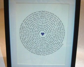 Valentines - Wedding - Anniversary - Birthday Personalised Your Song In A Spiral Print (framed)