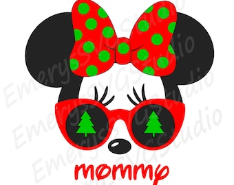 SVG File for Christmas Tree Minnie with Sunglasses