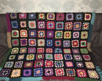 Vintage Multi-coloured Crochet Blanket