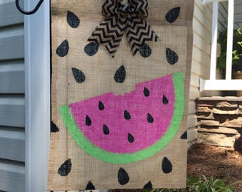 Watermelon Burlap Garden Flag