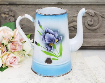 Vintage French Pretty Floral Iris Enamel Coffee Pot - Shabby Chic