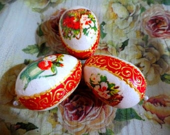 Three Decorative Easter eggs , Easter ornaments,Easter gift