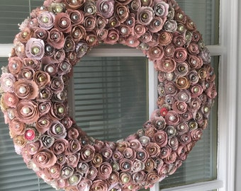 Pink book page and pearl wreath, book page wreath, pearl wreath, paper flower wreath, paper flower, paper flowers, pink wreath, shabby chic