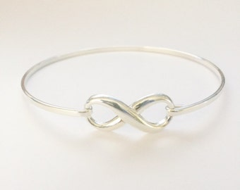 Sterling Silver Infinity Bangle,Solid Silver, Minimalist Bangle