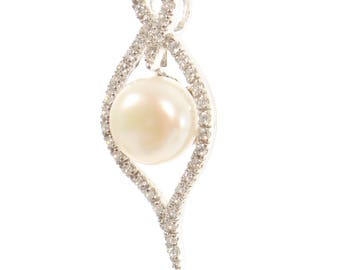 Sterling Silver Freshwater Pearl and Diamante Pendants with FREE Chain
