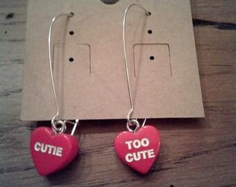 Valentine's Day Heart Dangle Earrings - Cutie/Too Cute