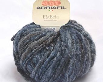 EtaBeta Chunky Knitting Yarn - wool, acrylic, viscose mix - colour 097 (blue/grey shades) by Adriafil