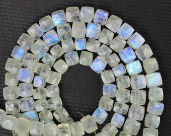 8 inch long strand faceted RAINBOW MOONSTONE Faceted Cube 6 -- 7 mm approx