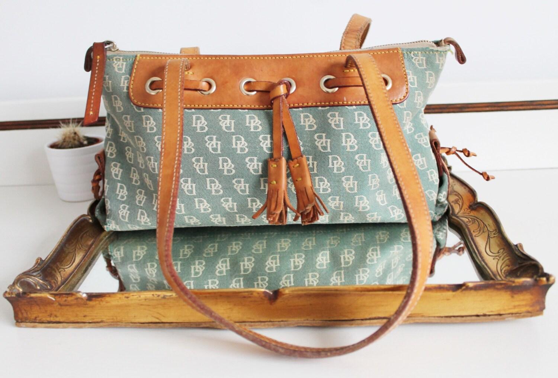 84b736c4d66e Vintage Dooney   Bourke Logo Fabric Tan Brown All Weather Leather Tassel Shoulder  Bag Purse Tote
