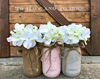 Painted Mason Jar Home Decor. HAZELNUT. BLUSH. STONE. Chalk Paint. Vintage. Rustic Vase. Distressed. Wedding Centerpiece. Shower Gift.