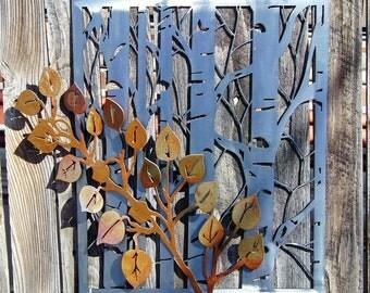 Aspen trees w/ aspen branch metal art wall hanging