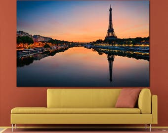 Seine River view Eiffel Tower Paris skyline photography large wall art print set of 3 or 5 canvas Eiffel Tower Paris canvas print home decor