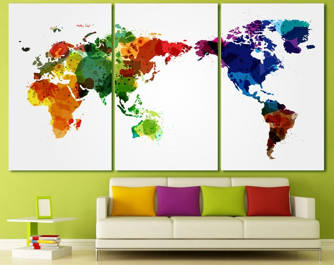 Colorful watercolor Large world map canvas, canvas 3 panel watercolor large world map, abstract large world map, set of 5 watercolor map