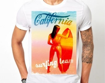 Hot California Surfing Girl T-Shirt Mens