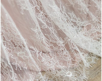 Eyelash lace, Bridal Lace Fabric, Evening dress Lace, Off-White soft Chantilly Lace, Lingerie Lace - (CHF1-W)