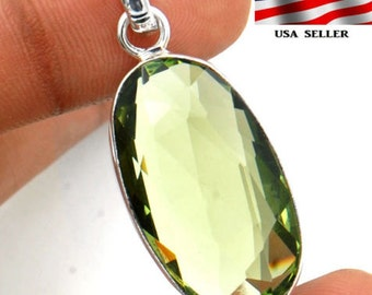 30CT Green Amethyst ~ .925 Solid Sterling Silver Pendant 1 2/3'' Long