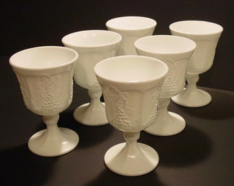 Colony Harvest Milk Glass Water/Wine Goblets Set of 6, Indiana Glass, Footed Goblets, Grapes and Leaves