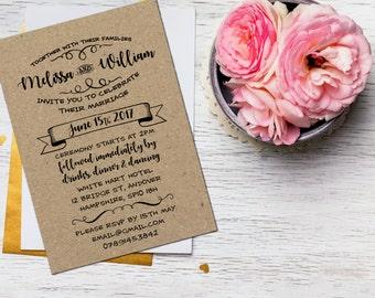 Wedding invitation rustic set, Kraft wedding invite suite, Boho wedding invite suite, DIY wedding invites suite, Wedding cards suite A5   A6