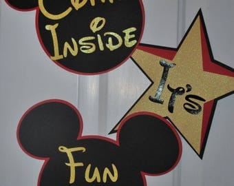 XL Come Inside Its Fun Inside Mickey Mouse Door Decor DIY