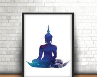 Buddha Wall Art/Buddha Wall Design/Buddha Digital Art/Buddha Printable Art/Buddha Sitting Design/Buddha Meditating Art/Buddha Blue Galaxy
