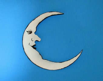 Man in the Moon, Wall Hanging, Metal Art, Handmade